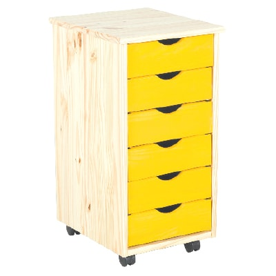YELLOW SIX DRAWER ROLL CART